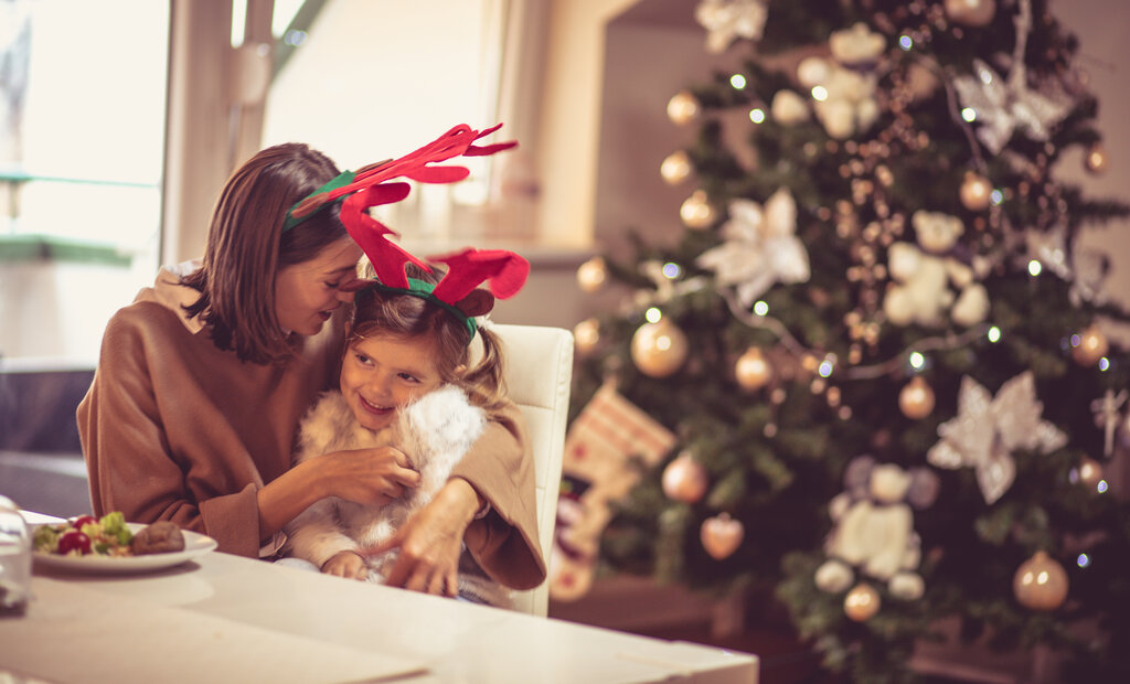 Mom and Daughter Spending Christmas Together